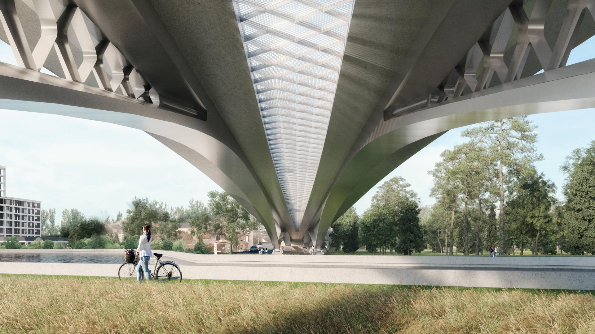 Het rooster in het midden zorgt voor licht onder de brug