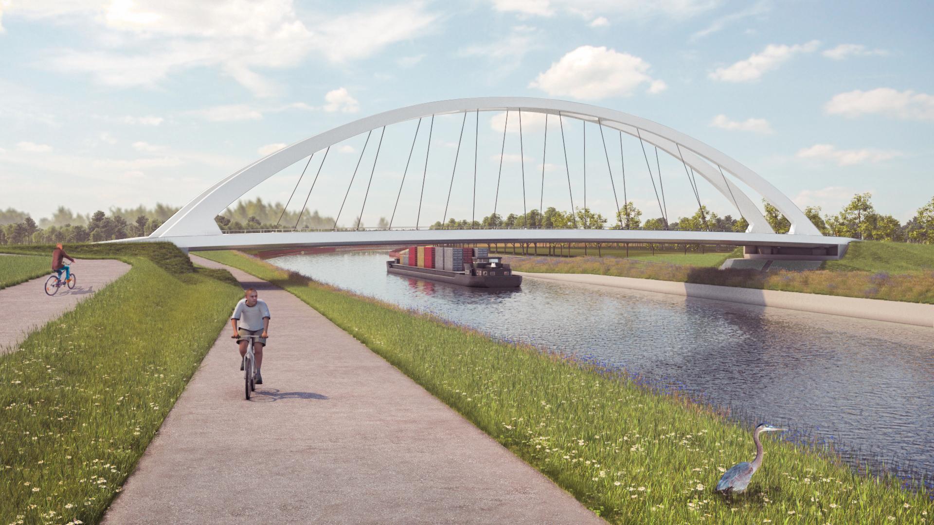 Visualisatie nieuwe brug tussen Ooigem en Desselgem