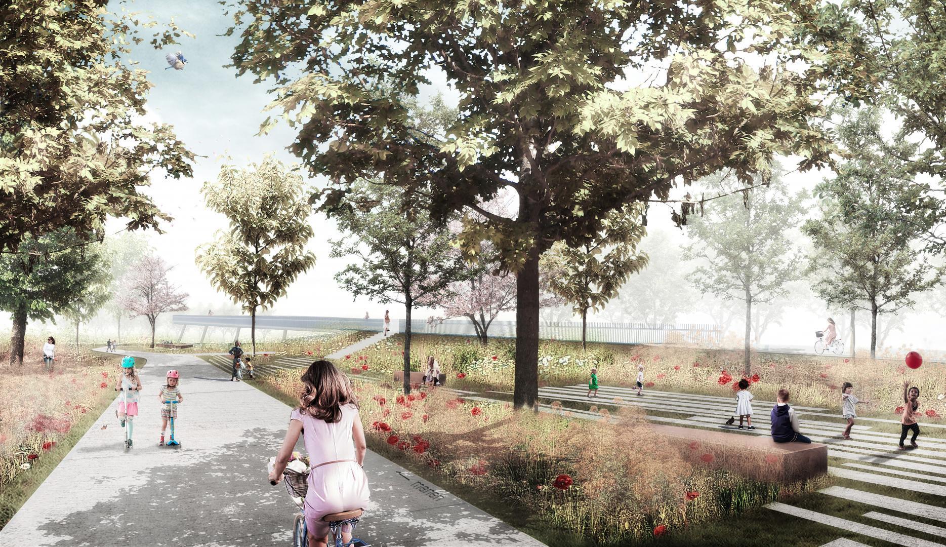 Beeld fiets- en voetgangersbrug: Barakkenpark